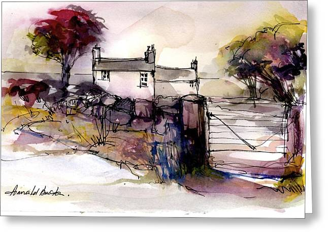 Russet Greeting Cards - November Cottage Greeting Card by Annabel Burton