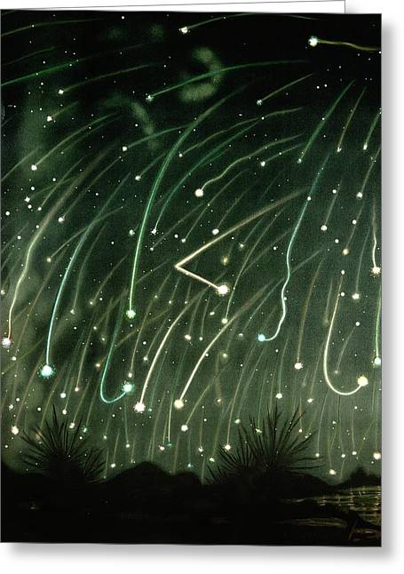 November Meteors Greeting Card by Miriam And Ira D. Wallach Division Of Art, Prints And Photographs/new York Public Library