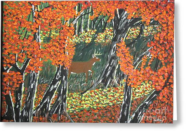 Forest Floor Paintings Greeting Cards - November Morning Greeting Card by Jeffrey Koss