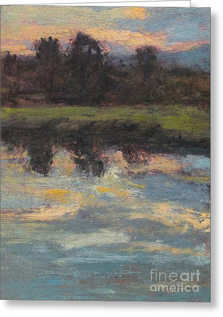 Gregory Arnett Paintings Greeting Cards - November Reflection - Hudson Valley Greeting Card by Gregory Arnett