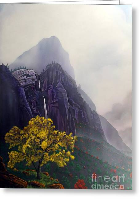 Weeping Greeting Cards - November Reign ZION Greeting Card by Jerry Bokowski