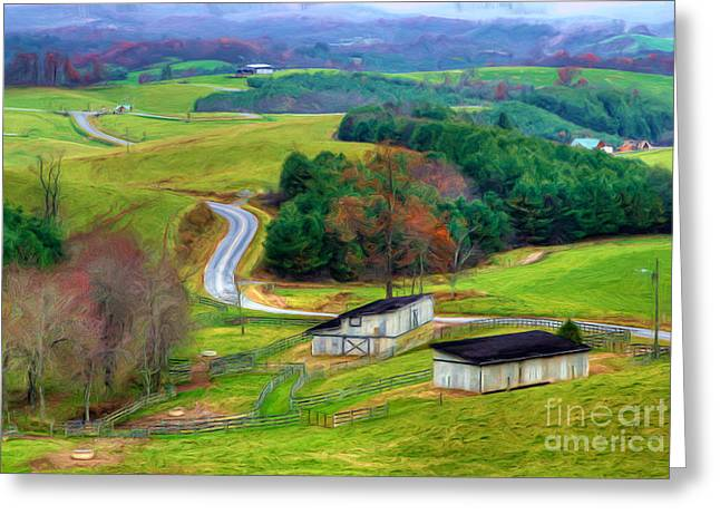 Pasture Framed Prints Greeting Cards - November Road II - Blue Ridge Mountains Greeting Card by Dan Carmichael
