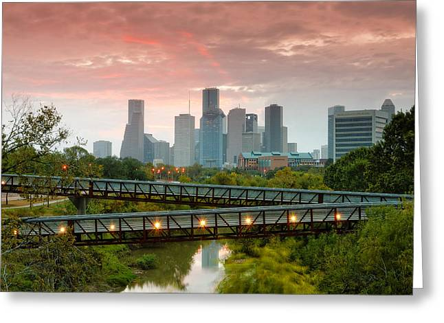 Tolerance Greeting Cards - November Sunrise in Downtown Houston Greeting Card by Silvio Ligutti