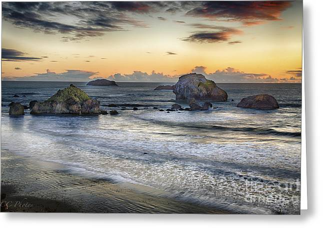 California Beach Greeting Cards - November Sunset Greeting Card by Christopher Cutter