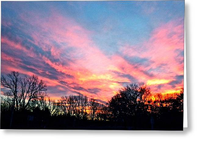 Night Scenes Greeting Cards - November Sunset Greeting Card by Jan Law