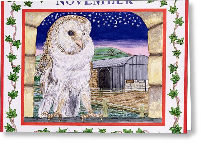 White Barns Greeting Cards - November Wc On Paper Greeting Card by Catherine Bradbury