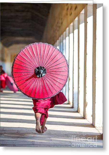 Real People Greeting Cards - Novice monk running - Myanmar Greeting Card by Matteo Colombo