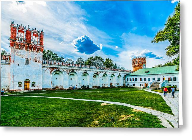 Medieval Temple Greeting Cards - Novodevichy Convent walls and towers Greeting Card by Alexander Senin