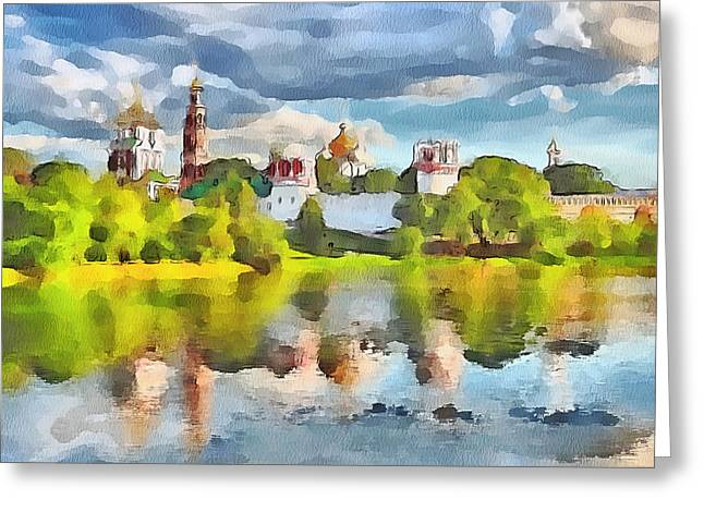 Live Art Greeting Cards - Novodevichy Monastery View Greeting Card by Yury Malkov