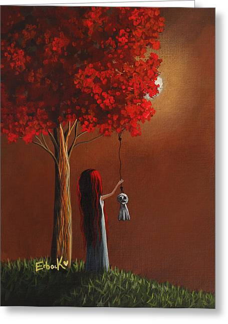Recently Sold -  - Fantasy Tree Greeting Cards - Now She Wont Be Alone 3 Original Artwork Greeting Card by Shawna Erback