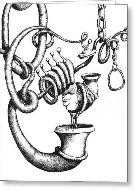 Pipe Drawings Greeting Cards - Now That Weve Cleared That Up Greeting Card by Sam Sidders