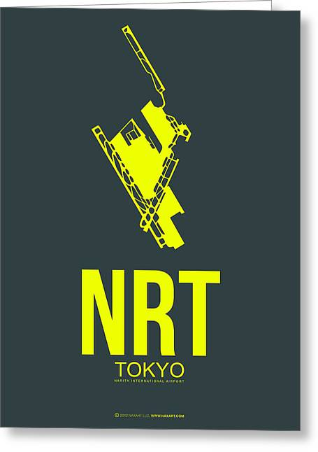 Tourists Greeting Cards - NRT Tokyo Airport Poster 2 Greeting Card by Naxart Studio