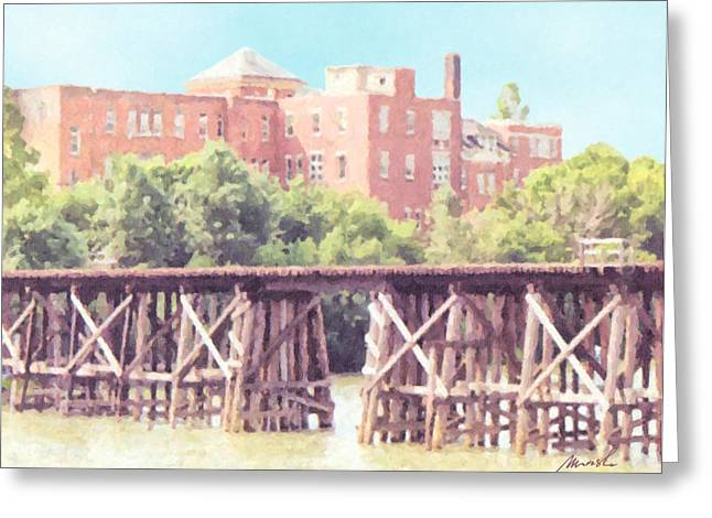 Trestle Greeting Cards - NS and T Trestle Railroad Bridge Greeting Card by The Art of Marsha Charlebois