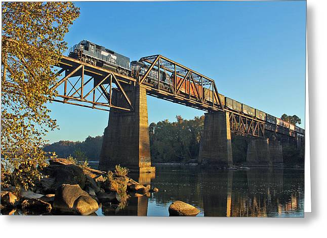Train On Bridge Greeting Cards - NS P77 Over the Congaree Greeting Card by Joseph C Hinson Photography