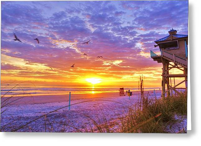 Beach Photograph Greeting Cards - NSB Lifeguard Station Sunrise Greeting Card by DM Photography- Dan Mongosa