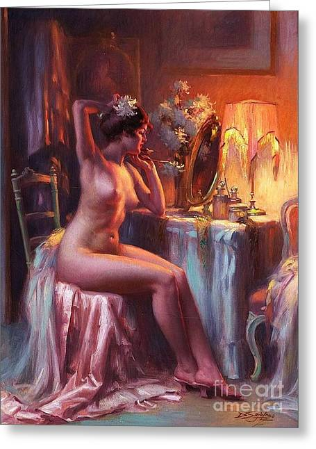 Lamplight Greeting Cards - Nu a sa Coiffeuse Greeting Card by Pg Reproductions