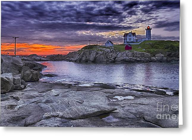 Cape Neddick Lighthouse Greeting Cards - Nubble lighthouse maine Greeting Card by Steven Ralser