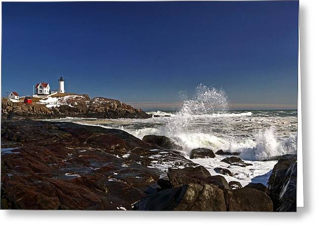 Cape Neddick Greeting Cards - Nubble 19 Greeting Card by Jeff Stallard