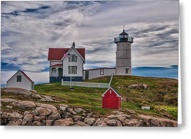 Cape Neddick Greeting Cards - Nubble 19539 Greeting Card by Guy Whiteley