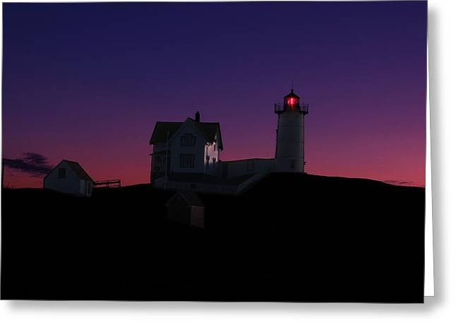 York Beach Photographs Greeting Cards - Nubble At Night Greeting Card by Andrea Galiffi
