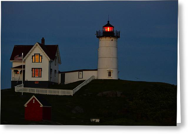 Cape Neddick Greeting Cards - Nubble at Night Greeting Card by Kim Blaylock