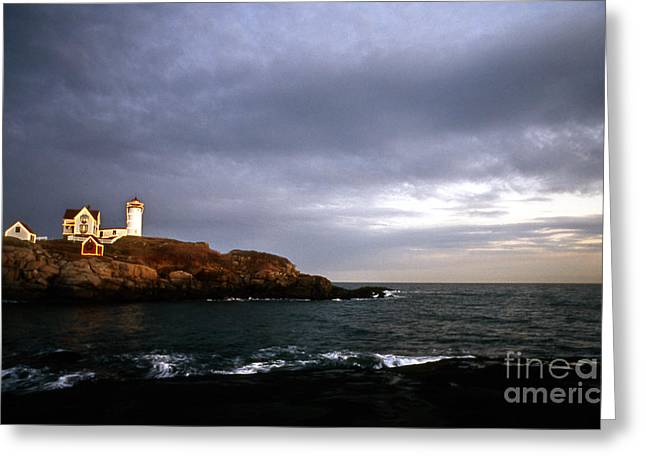 York Beach Greeting Cards - Nubble Christmas Greeting Card by Skip Willits