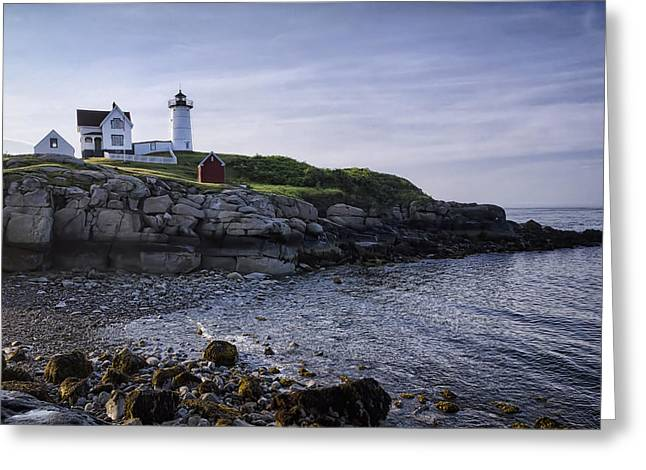 Cape Neddick Lighthouse Greeting Cards - Nubble Dawn Greeting Card by Joan Carroll
