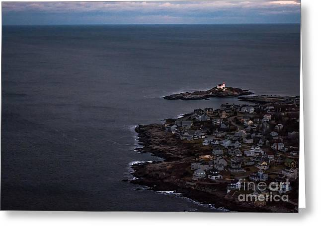 Maine Beach Greeting Cards - Nubble from the Air Greeting Card by Scott Thorp