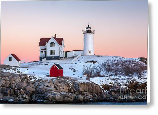 Cape Neddick Lighthouse Greeting Cards - Nubble Glow 2 Greeting Card by Susan Cole Kelly