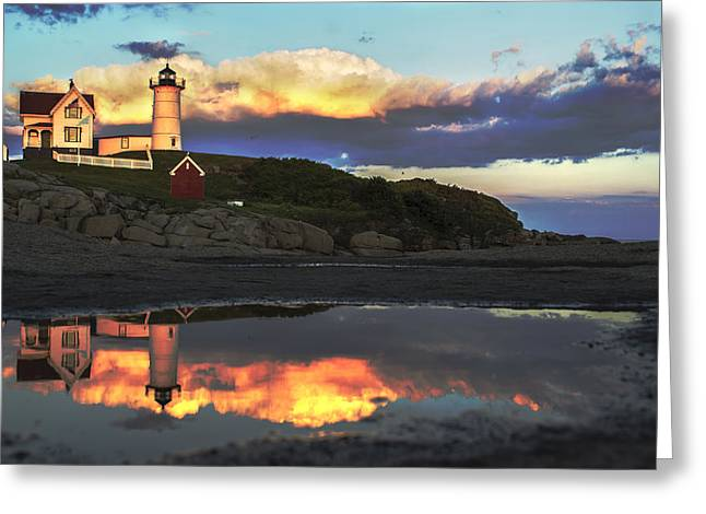 Cape Neddick Lighthouse Greeting Cards - Nubble Gold Greeting Card by Rick  Blood