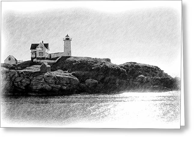 Cape Neddick Lighthouse Greeting Cards - Nubble Greeting Card by Jenny Hudson