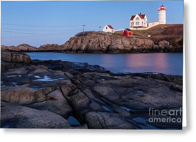 Sohier Park Greeting Cards - Nubble Light along Maines Rugged Coast York Beach Maine Greeting Card by Dawna  Moore Photography
