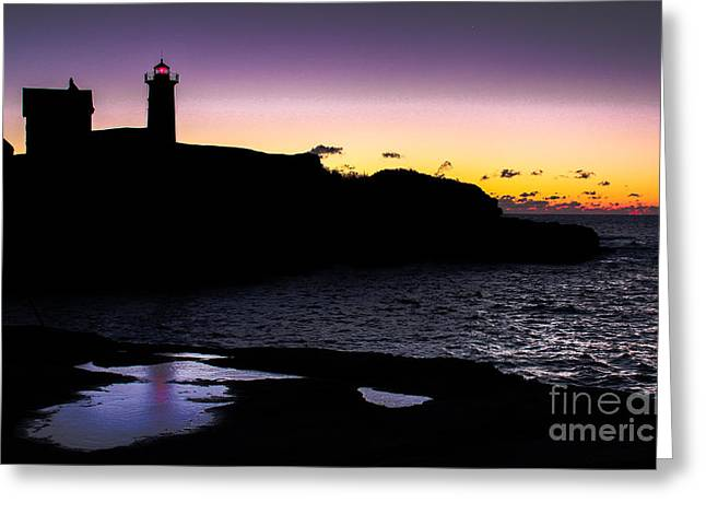 Cape Neddick Lighthouse Greeting Cards - Nubble Light At Dawn Greeting Card by Scott Moore