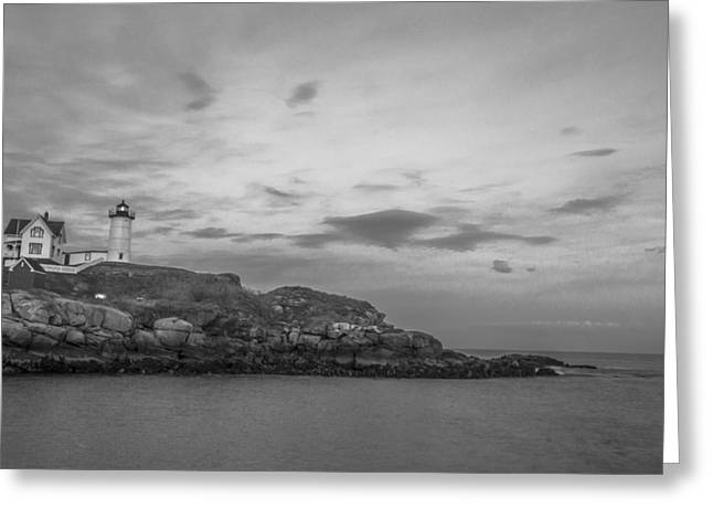 Cape Neddick Lighthouse Greeting Cards - Nubble Light Cape Neddick Black and White Greeting Card by John McGraw