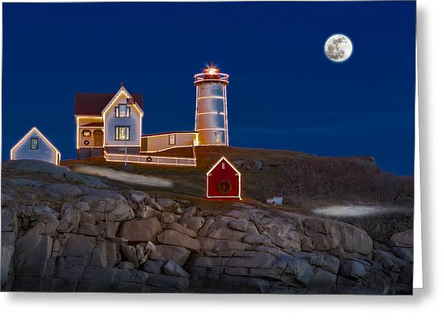 Moon Set Greeting Cards - Nubble Light Cape Neddick Lighthouse Greeting Card by Susan Candelario