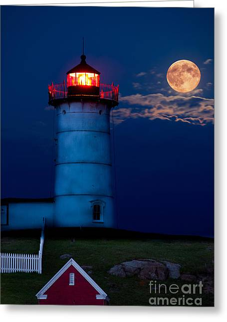 Cape Neddick Greeting Cards - Nubble Light Full Moon Greeting Card by Tom Wilder