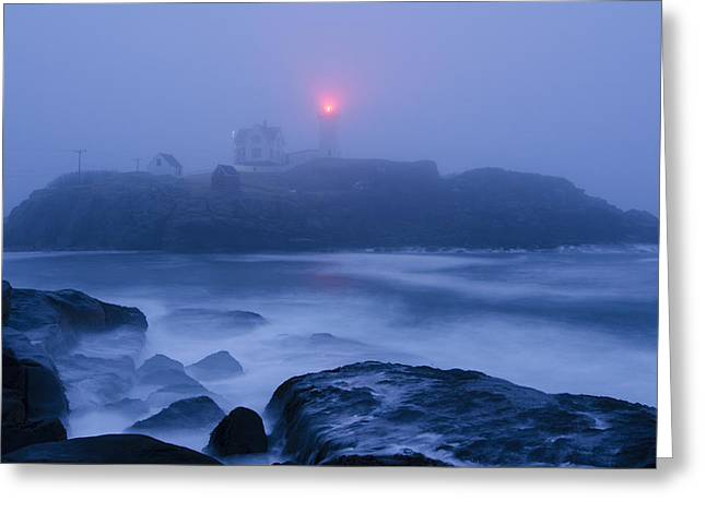 Cape Neddick Lighthouse Greeting Cards - Nubble Light in Foggy Dawn Greeting Card by Donna Doherty