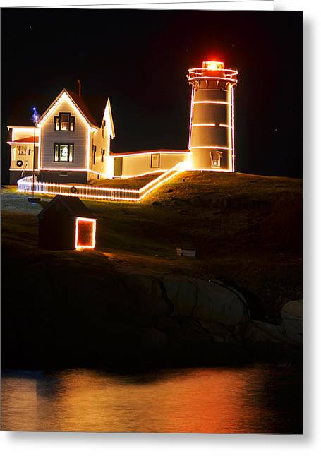 Cape Neddick Lighthouse Greeting Cards - Nubble Light in York ME Cape Neddick Christmas Greeting Card by Toby McGuire