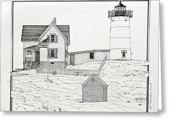 Cape Neddick Drawings Greeting Cards - Nubble Light Greeting Card by Ira Shander