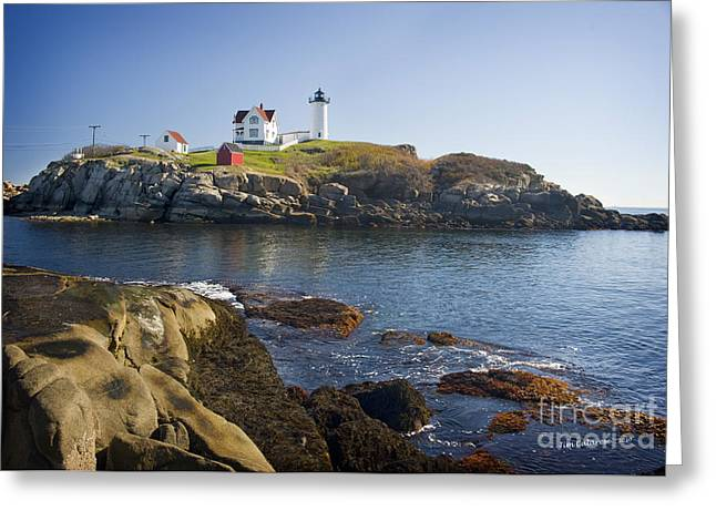 Maine Lighthouses Greeting Cards - Nubble Light Greeting Card by Jim  Calarese