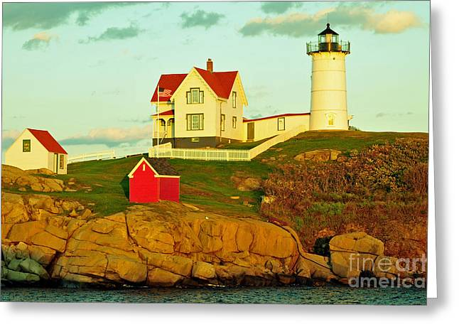 Cape Neddick Greeting Cards - Nubble Light Greeting Card by Matthew Yeoman