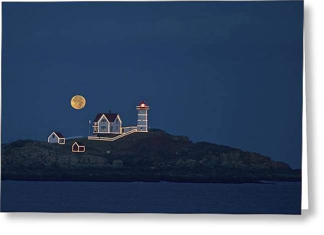 Cape Neddick Greeting Cards - Nubble Light Moonrise Greeting Card by Joanna DeCesare