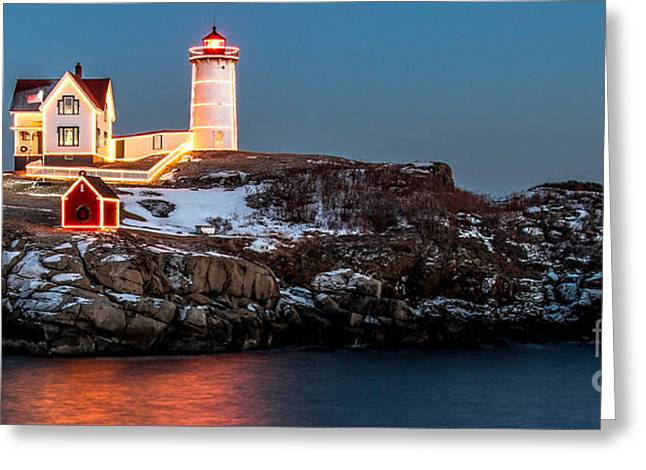 Cape Neddick Greeting Cards - Nubble Light Night Greeting Card by Scott Moore