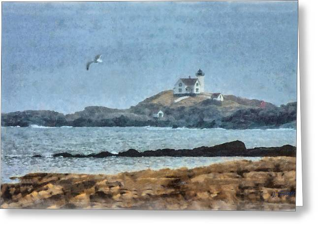 Cape Neddick Lighthouse Digital Art Greeting Cards - Nubble Light on Cape Neddick Greeting Card by Jeff Folger