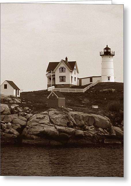 Maine Beach Greeting Cards - Nubble Light Greeting Card by Skip Willits