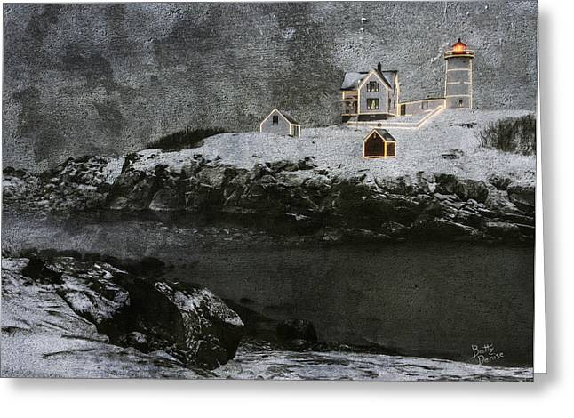 Sohier Park Greeting Cards - Nubble Light Stormy Night Greeting Card by Betty Denise