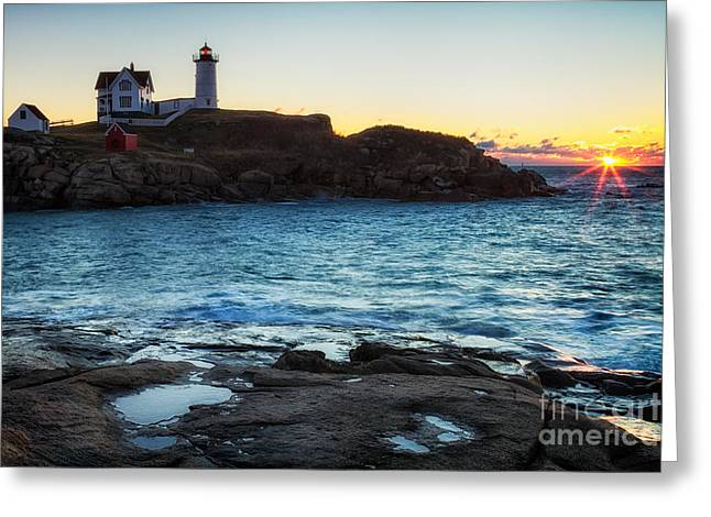 Cape Neddick Lighthouse Greeting Cards - Nubble Light Sunrise Cape Neddick Lighthouse York Maine Greeting Card by Dawna  Moore Photography