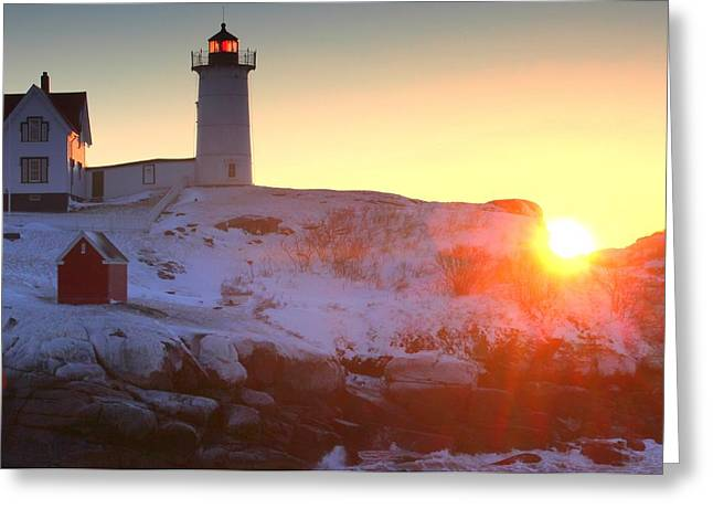 Cape Neddick Lighthouse Greeting Cards - Nubble Light Sunrise Greeting Card by Rick  Blood