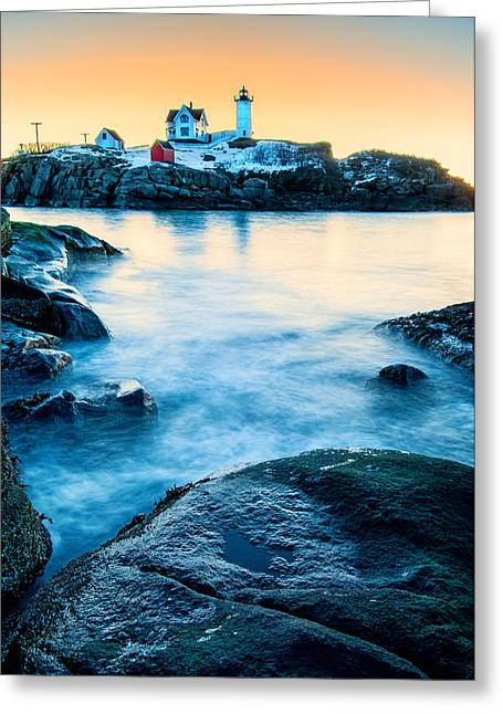 Cape Neddick Lighthouse Greeting Cards - Nubble Light Greeting Card by Thomas Schoeller