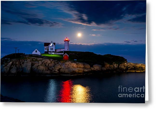 Cape Neddick Lighthouse Greeting Cards - Nubble Light Greeting Card by Tom Wilder